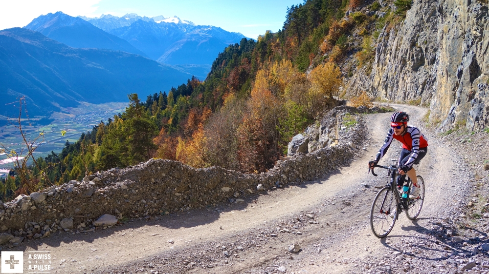 Riding on gravel towards Ovronnaz above the Rhone valley