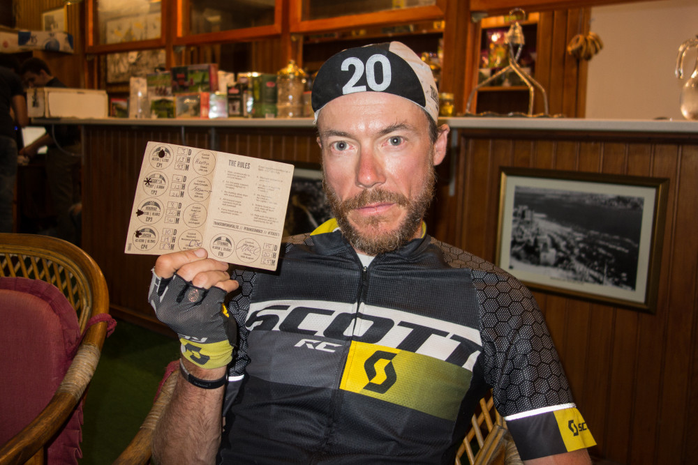 Alain Rumpf and his brevet card at the finish of the 2015 Transcontinental Race