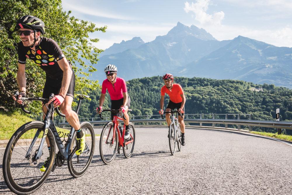 Riding up Col de la Croix