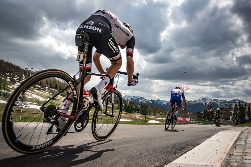 Tom Dumoulin and Thibaut Pinot in Sestrieres, Italy