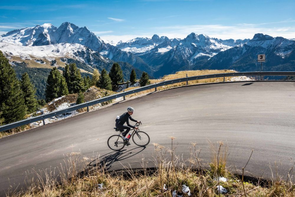 Climbing the Passo Sella in the Dolomites