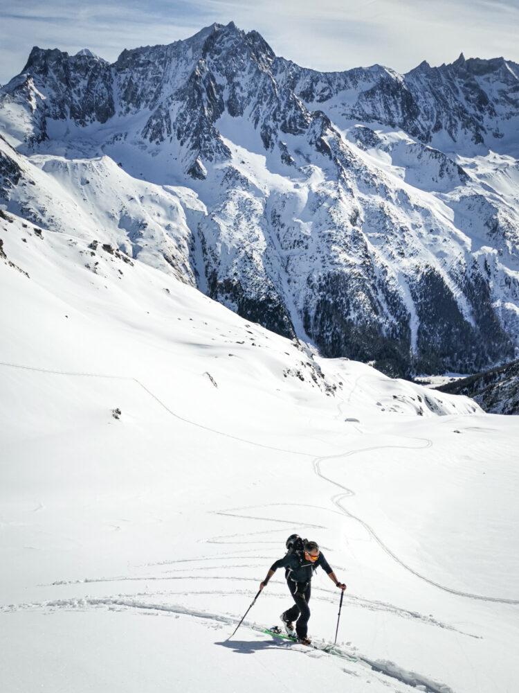 Ski touring above Arolla in Val d'Hérens, Valais, Switzerland